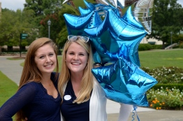Jessica Sullivan, '15, poses with Haley Stewart, '15 at the Kids-To-Kids Club. Photo by Emi Myers.